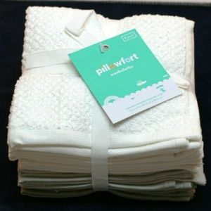 NWT 8 Pack Washcloth Set White/ Grey Textured